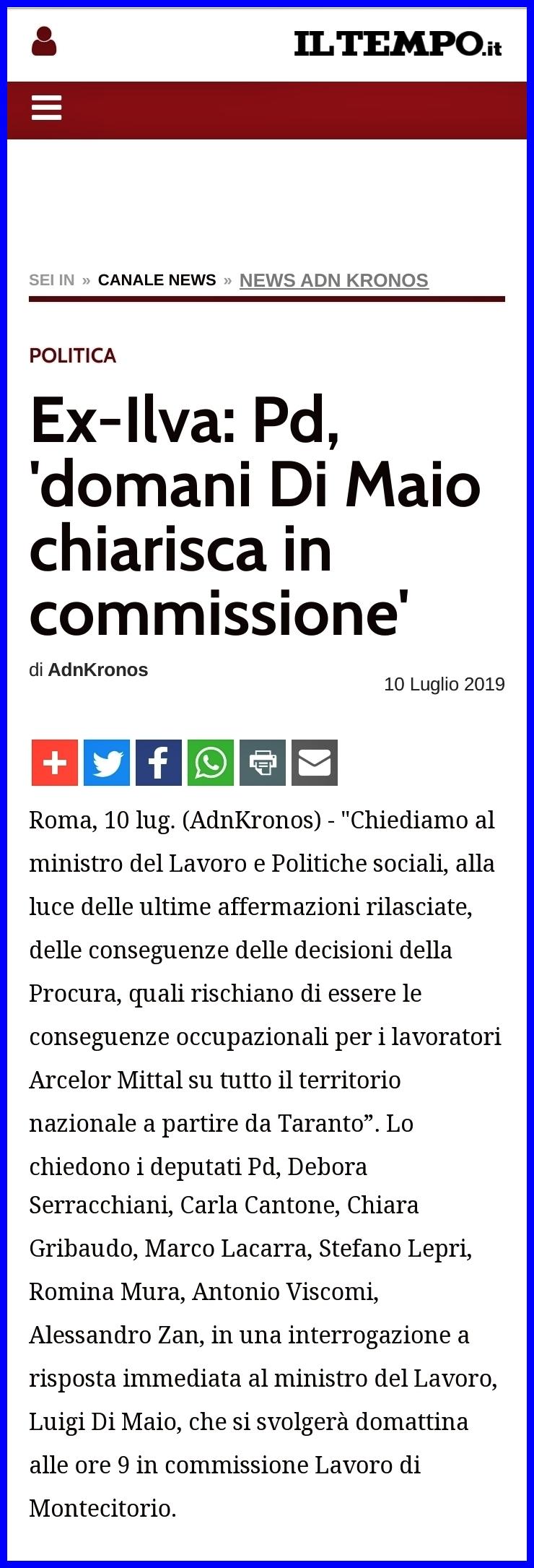 "EX-Ilva. Pd: ""Di Maio chiarisca in commissione"". - Romina Mura"